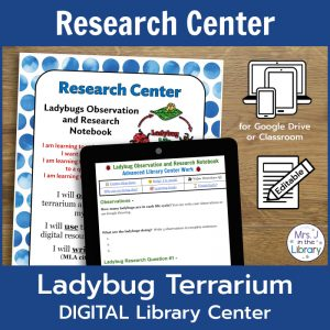 "Cover image of Ladybug Terrarium Digital Research Center by Mrs. J in the Library: a wood background with the center sign directions with a blue watercolor polka-dot border, the digital Ladybug Research Notebook, and icons to indicate that this product is digital for Google Drive or Classroom and editable. Top text box reads ""Research Center"" and the bottom text box reads ""Ladybug Terrarium DIGITAL Library Center"""