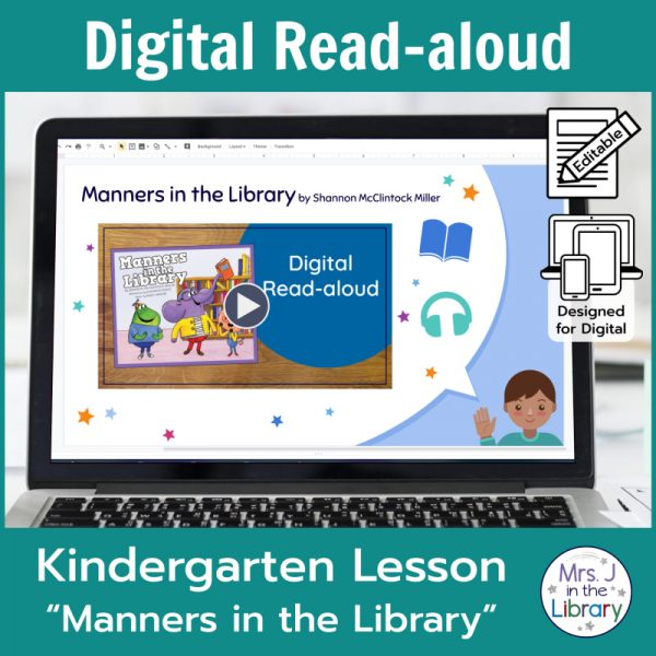 "Laptop computer screen showing ""Manners in the Library"" Digital Read-aloud title slide with 2 banners reading Digital Read-aloud and Kindergarten Lesson ""Manners in the Library"""