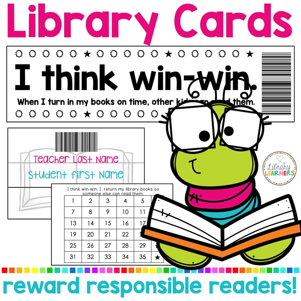 Library Cards Printable with Bookworm