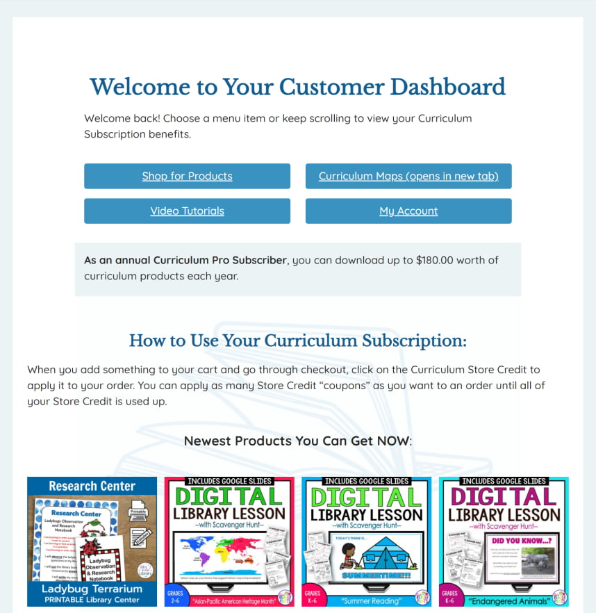screenshot of customer dashboard for Curriculum Pro Subscription